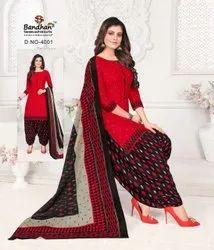 Bandhan Ladies Designer Semi Stitched Cotton Suit