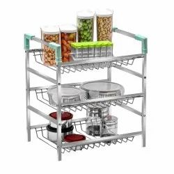 Stainless Steel 3-Tier Rack Container Organizer Basket For Boxes Utensils Dishes Plates For Home