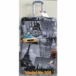 Polycarbonate 308 Printed Luggage Trolley Bag, Size: 20 Inch