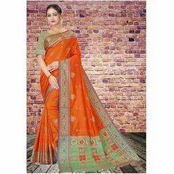 Party Wear Orange-Green Ladies Silk Saree, 6 m (with blouse piece), Hand Made