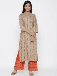 Jaipur Kurti Women Khaki Ethnic Motif Straight Viscose Rayon Kurta With Palazzo