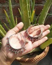 Alloy Metal Silvert NK Handmade Silver Bali Earrings, Size: Free