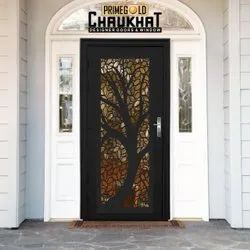 Glossy Brown Prime Gold CNC Decorative Door, Thickness: 45 Mm