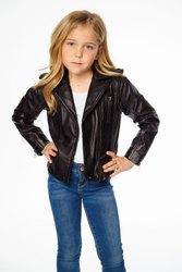 Black/brown/red/navy/orange Kids Leather Jacket