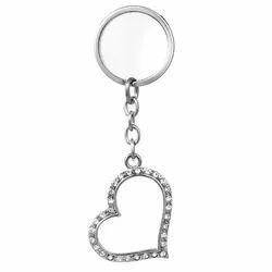 Chic Crystal Enameled Heart Keychain