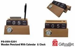Giftmart Brown Wooden Pen Stand With Calendar And Clock, For Office