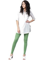 Jaipur Kurti Women Olive Solid Cotton Lycra Leggings
