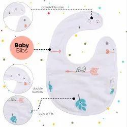 Polka Tots Reusable Organic Muslin Cotton 3 Layer Baby Bib