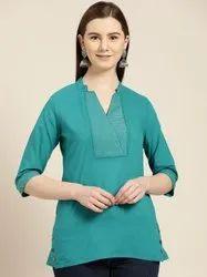 Jaipur Kurti Teal Zari Work Cotton Top