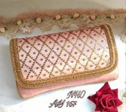 Embroidery Rose Pink Ladies Stylish Hand Purse Ay 167