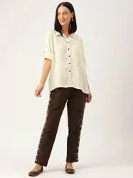 Slub Cotton Plain Women Off-White And Brown Solid Shirt with Side Printed Trousers