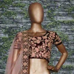 Thread Embroidery Velvet Wedding Lehenga Choli, Size: Free Size, Single Set