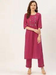 Jaipur Kurti Pink Embroidered Straight Kurta With Palazzo