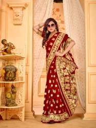 5.5 m (separate blouse piece) Wedding Banarasi Weaving Soft Silk Saree, With Blouse Piece
