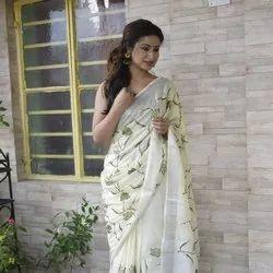 Party wear Cotton Lilen Saree, 6.3 m (with blouse piece)