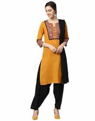 Jaipur Kurti Women Mustard & Black Ethnic Motifs Straight Cotton Kurta With Patiala Dupatta