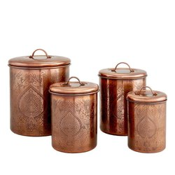 Copper Antiques Etched Canisters