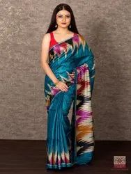 Party Wear Blue HANDWOVEN TUSSAR GICHHA PRINTED SAREE, 6.3 m (with blouse piece)