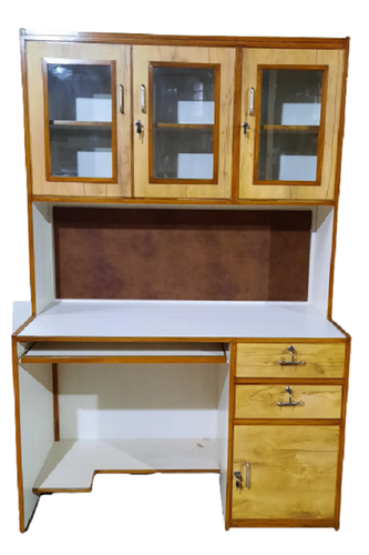 wooden study table with storage