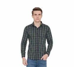 Cotton Collar Neck Mens Check Print Shirt, Size: XS-XXL