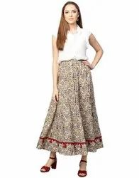 Casual Wear Jaipur Kurti Women Brown Ethnic Motifs Straight Cotton Skirt