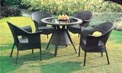 Brown Wicker Tea Table Set