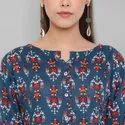Janasya Women's Blue Rayon Ethnic Dress(J0171)