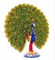 Metal Meenakari Dancing Peacock Statue Handicrafts Enamel Work  Figurine Decorative Showpiece