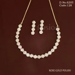 American Diamond Rose Gold Necklace Set