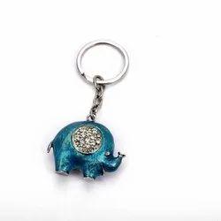 Adorable Gem Enameled Blue Elephant Keychain