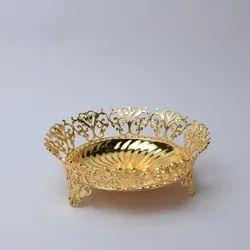 Intricate Design Round Golden Bowl