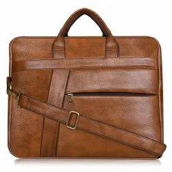 Brown 15.6 Inch Foam Leather Bag Horizontal Bag, Capacity: 25 L