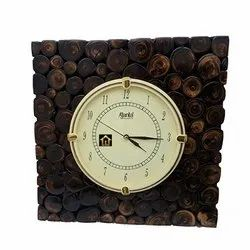Square Shape Wooden Wall Clock