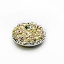 Gem Studded Flower Enameled Round Jewelry Box