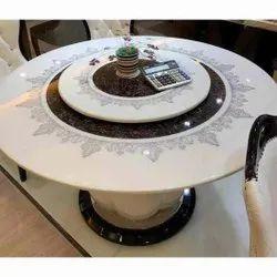 White, Brown Marble Designer Banquet Round Table, Size: 51.5 Inch