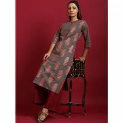Janasya Women's Grey Cotton Kurta With Palazzo (SET238)