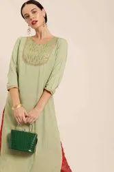 Jaipur Kurti Green Embroidered Straight Kurta