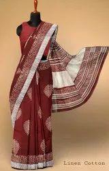 Party Wear Ladies Printed Cotton Saree, 5.5 m