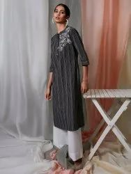 Janasya Women's Black Weaved Cotton Kurta with Pocket(J0150)