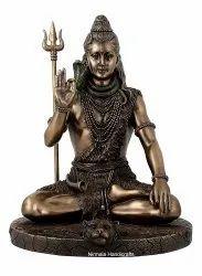 Bronze Copper Finish Sitting Shiva Statue Indian Hindu God Idol Sculpture Decorative Showpiece