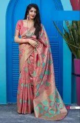 ANK Enterprise 6.3 m (with blouse piece) Banarasi Soft Silk Weaving Saree