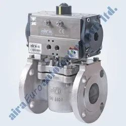 Pneumatic 2 Way Plug Valve Flanged