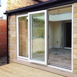 Toughened Glass Lever Handle UPVC Bi Fold Door, 10 Mm