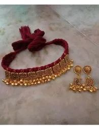 Wedding Wear Traditional Gold Plated Necklace Set, Size: Adjustable