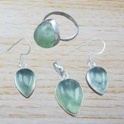 Aquamarine Gemstone Unique Jewelry 925 Sterling Silver Set