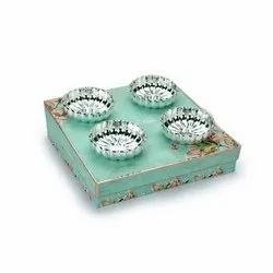 Fluted Design Round Shaped Silver Bowl Set (S/4)