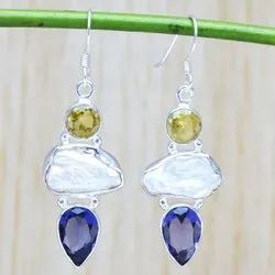 Pearl Gemstone 925 Silver Earrings WE 6447