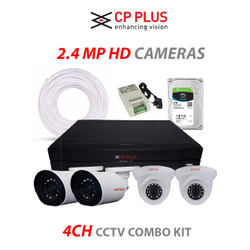 CP Plus 2.4MP, H.265, 1TB Storage, 4Camera Combo Kit With (Full HD CCTV Security Camera Set