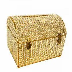 Gold Crystal & iron Box Wedding Cards