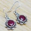 Ruby Gemstone 925 Sterling Silver Jewelry Designer Earring